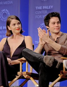 Shelley Hennig and Dylan O'brien at the Paleyfest Teen Wolf Panel.