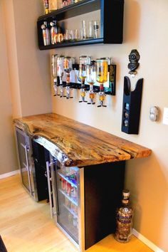 Stainless Steel Back Bar Cooler Single door stainless steel bar coolers with live edge wood top.Single door stainless steel bar coolers with live edge wood top. Diy Home Bar, Bars For Home, Diy Home Decor, In Home Bar Ideas, Mini Bar At Home, Diy House Ideas, Home Wine Bar, Man Cave Home Bar, Man Cave With Bar