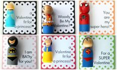 DIY Princess and Super Hero Peg Doll Valentines by Crossing the Bugger-Dixon Line