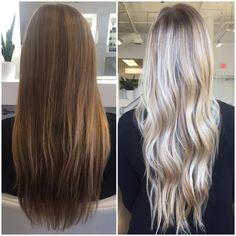 """C O L O R B Y B A I L E Y on Instagram: """"Before and After: full balayage using #lorealprous platine"""""""