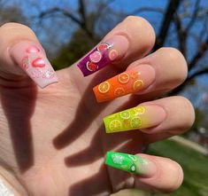 May 2020 - Are you still looking for fruit nail design ideas, fruit nails will be popular in the summer of these ideas may be able to give you inspiration. Bright Summer Acrylic Nails, Best Acrylic Nails, Coral Acrylic Nails, Fruit Nail Designs, Acrylic Nail Designs, Fruit Nail Art, Encapsulated Nails, Exotic Nails, Blue Nails
