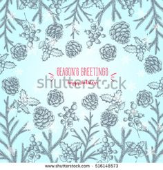 Christmas hand drawn frame for xmas design. Vintage Xmas invitation card design. Linear graphic. New year vector illustration.