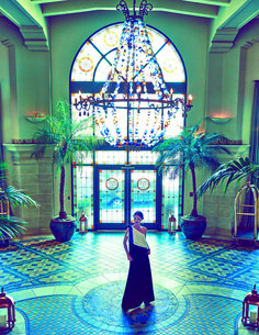 Marie Claire China fashion shoot in the Hotel Casa del Mar lobby.  Santa Monica, California.