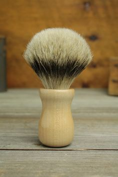 Maple Truncheon style shaving brush with Silvertip Badger by Bare Knuckle Barbery