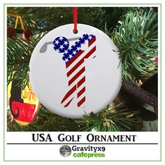 USA Mens Golf Christmas Ornament   by #Gravityx9 Designs at Cafepress - #Sports4you -   Each ornament is made  of high quality porcelain and  comes with a red ribbon ~ Ready to Hang or your Christmas Tree or give as a ... #golfing #golf #golfer #golfornament #sportsornament