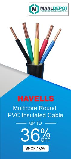 Havells Multicore Round PVC Insulated Cable and FR PVC Sheathed Flexible Cable 2 Core (4.00 Sq. mm) 100 mtrs, for various industrial and domestic applications. Shop at http://bit.ly/2ah56WB for affordable prices. To place orders,call or whatsapp to 9019156789