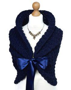 NAVY BLUE WEDDING Shawl Crochet Shoulders Wrap by HandmadeLaremi                                                                                                                                                                                 More