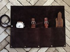 A personal favourite from my Etsy shop https://www.etsy.com/uk/listing/508851677/personalized-leather-watch-roll-leather