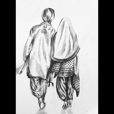 Photography women home portraits super ideas Couple Sketch, Couple Drawings, Art Drawings Sketches, Couple Art, Easy Drawings, Punjab Culture, Indiana, Indian Art Paintings, Photography Women