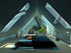 modernes schlafzimmer dachschräge mit Doppelbett und bettdecke blau