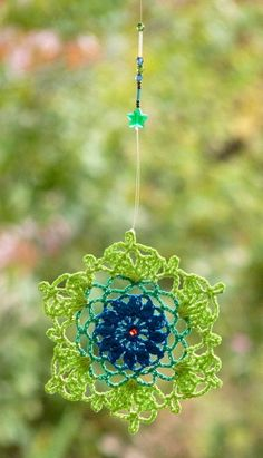 Doily dreamcatcher crochet mandala lace window hanger turquoise green beaded