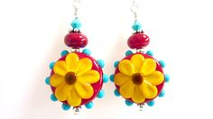 Yellow Flower Earrings, Red Turquoise Glass Beaded Floral Earrings, Handmade Lampwork Earrings, Sterling Silver, Colorful, Sunflower Yellow via Etsy