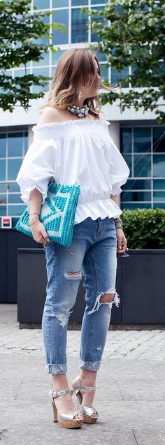 Off shoulder with boyfriend jeans