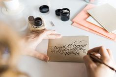 Photography : Kathryn McCrary Read More on SMP: http://www.stylemepretty.com/living/2015/02/27/how-to-calligraphy-envelopes-a-giveaway/