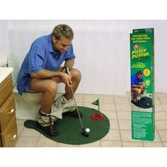 Potty Putter, toilet golf game ,novel mini golf toys,which lets you practice your putting while going to the bathroom. Gifts For Dad, Fathers Day Gifts, Dad Presents, Birthday Presents, 50th Birthday, Birthday Ideas, Mini Golf Set, Cool Gifts, Best Gifts