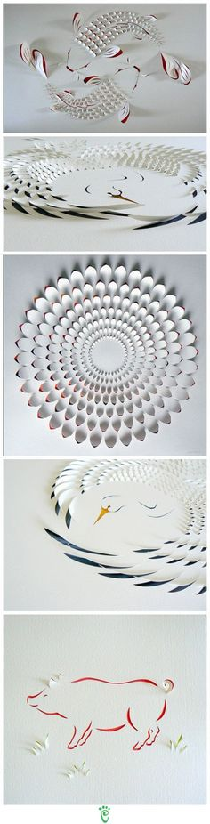 origami, but the cuts in the paper really add depth to the pictures. Crafts To Do, Diy Craft Projects, Diy Crafts For Kids, Arts And Crafts, Craft Ideas, Easy Crafts, Decorating Ideas, Kirigami, Diy Paper
