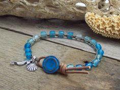 Crochet Seahorse Beach Bracelet  Blue Sea Glass by JunoniaDesigns, $25.00
