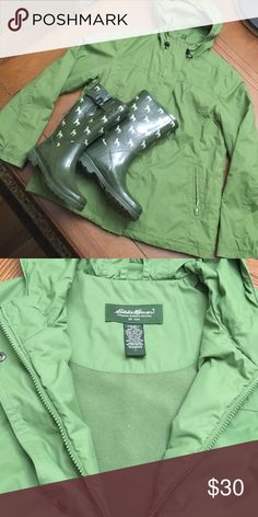 Eddie Bauer Lined, Hooded Raincoat Eddie Bauer Lined, Hooded Raincoat. Doubled closure - zipper & buttons. Zippered pockets: 2 outside, 1 inside. 1/2 Elastic around sleeves and elastic draw around hood. Pre-loved but in great condition. Eddie Bauer Jackets & Coats Utility Jackets