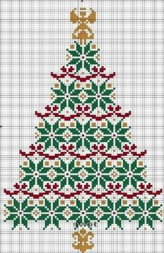 Cross Stitch Patterns Free Cross Stitch Pattern - Christmas Tree by alissa Xmas Cross Stitch, Cross Stitch Charts, Cross Stitch Designs, Cross Stitching, Cross Stitch Embroidery, Cross Stitch Patterns Free Christmas, Russian Cross Stitch, Cross Stitch Angels, Christmas Patterns