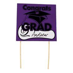 "Purple ""Congrats Grad"" Yard Signs - OrientalTrading.com"