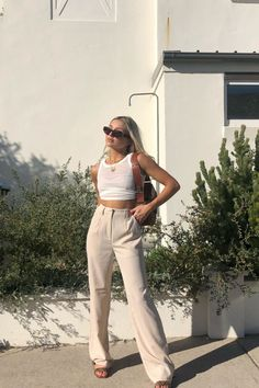 The Flared Striped Pants by NA-KD Classic features a two side slant pocket design, belt loops, wide legs, and has a hidden zipper with a hook and an eye closure. Mode Outfits, Fashion Outfits, Womens Fashion, Fashion Trends, Fashion Hacks, Fashion Boots, Fashion Ideas, Ladies Fashion, Fashion Tips
