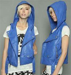 Urban Hip Hop. Blue leather hooded vest.
