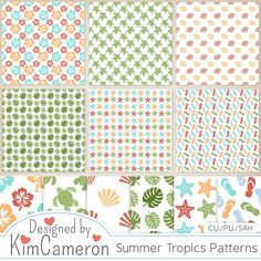 Daisies & Dimples Summer Tropics Patterns CU [kimcameron_summertropicspatterns] - Add some summer fun to your layouts with these tropical pattern paper templates! Includes a PSD and separate PNG layers for 6 full-size paper patterns (flip flops, hibiscus, palm leaves, seashells, starfish and sea turtles). Commercial use ok!