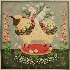 John Johanssen for Melissa Shirley Designs (J215) Hollyhock Lamb, 15 x 15, 18 Mesh needlepoint canvas