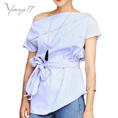 Summer Wear Blouses Off Shoulder Striped Shirt  Bow Tie Bandage