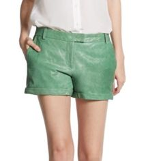 5xHP Rachel Zoe leather shorts SALE Rachel Zoe green leather shorts make an offer on anything you see in my closet! Please no low balling this item. They are 600 dollar shorts and I am selling them for wayyyyy less than anyone else I have seen :) thank you happy shopping! There is a very very very small hole not noticeable where the zipper is. Rachel Zoe Shorts