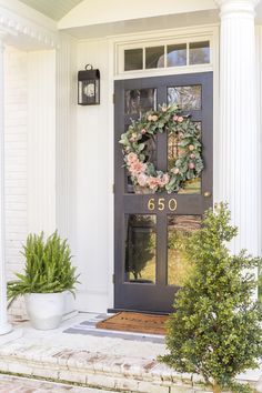 It doesn't have to take much to bring a little charm and curb appeal to your home's exterior. Today we are sharing a few affordable updates you can do now to spruce your stoop. Decor, House With Porch, Painted Front Doors, Spring Decor, House Exterior, Porch Design, Front Door, Farmhouse Front, Tuscan Design