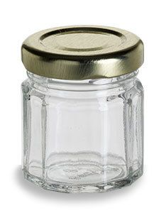 Specialty Bottle - 1.5 oz (45 ml) Multifaceted Glass Jar with Gold Lid, $0.77 (http://www.specialtybottle.com/glass-jars/faceted/1-5oz-mf1)