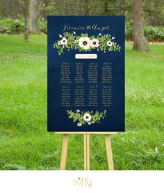 The FRANCES . Gold & Navy Chalkboard Wedding Seating Chart . Blush White Champange Vintage Floral Rustic Poster Custom Wedding Sign . PDF by BuffyWeddings on Etsy