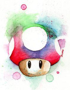 1up mushroom Super MArio Nintendo Game Watercolor art Print Guardians of Galaxy Decor paint