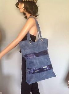 Jeans Denim Extra Large Bag Tote Shopper Navy Sequinced Designer Hip Fashion     eBay