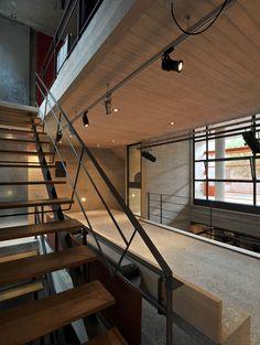 "Sofia Tsiraki, ""box house"" Athens Box Houses, Dom, Athens, Track Lighting, Architects, Greek, Stairs, Ceiling Lights, Building"