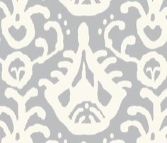 Gray cream Ikat fabric by Domesticate on Spoonflower - custom fabric ... may be a good choice for curtains in my all-white guest bathroom.