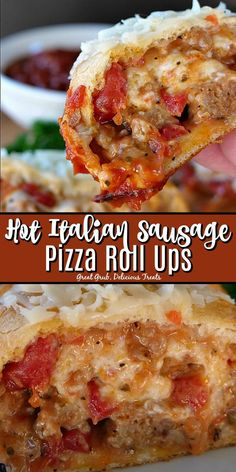 Hot Italian Sausage Pizza Roll Ups are loaded with hot Italian sausage gobs of cheese and rolled up in a pizza crust then baked to a golden brown Sausage Sandwich Recipes, Ground Italian Sausage Recipes, Italian Sausage Sandwich, Sausage Recipes For Dinner, Sausage Appetizers, Sausage Sandwiches, Appetizer Recipes, Italian Appetizers, Italian Sausage Rolls Recipe
