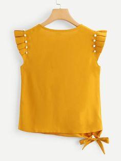 Blusa fruncido con perlas-Spanish SheIn(Sheinside) Toddler Fashion, Teen Fashion, Love Fashion, Womens Fashion, Fiesta Outfit, Yellow Clothes, Girls Blouse, Yellow Fashion, Trendy Outfits
