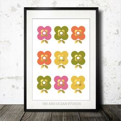 Gold Scandinavian style Downloadable mid century, pop art print flower print