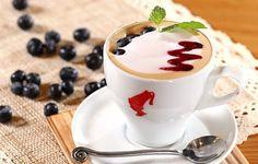 Wallpaper cappuccino, coffee, milk, foam topping, jam, blueberries, berries wallpapers food - download