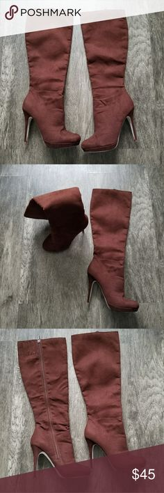 """Brown heeled boots These Michael Antonio suade heeled boots have been worn but are in great condition! They reach just right under my knee. Heel: 4""""  Size:8  Tag was removed. Michael Antonio Shoes Heeled Boots"""