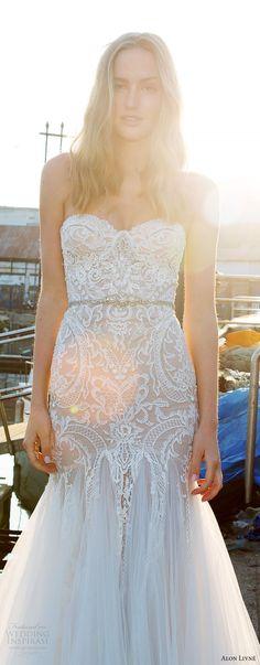 alon livne white pre 2018 bridal strapless sweetheart lace bodice fit flare wedding dress (helen) mv glam -- Alon Livne White 2017-2018 Wedding Dresses