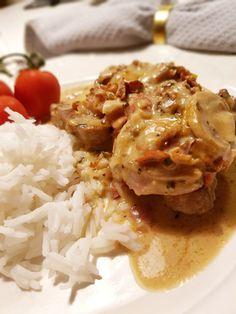 Fläskfilé i dragon- & baconsås Gluten, Dragon, Chicken, Meat, Blog, Buffalo Chicken, Cubs, Rooster