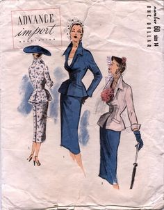 Advance 60 Suit   1950s Advance Import Adaptation pattern