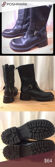 Black Leather side zip moto style boots 7.5 Nice leather below mids, barely worn. No scratches or scuffs.  ‼️✈️🚀PLEASE SEE MY TRAVEL NOTES FOR DATES I'M UNABLE TO SHIP ✈️🚇🚁🚙🛶‼️ Nine West Shoes Combat & Moto Boots