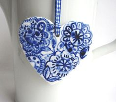 Delft Porcelain 'Cross' my heart Blue And White China, Blue China, Love Blue, Delft, I Love Heart, Heart Wall, White Decor, White Porcelain, Painted Porcelain