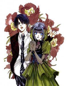 "Art from ""Angel Sanctuary"" series by manga artist Kaori Yuki."