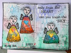 """146 gilla-markeringar, 4 kommentarer - Melina Dahl 🇸🇪 (@minaskreativa) på Instagram: """"Art journal spread, """"Touch the sky"""" with @rubberdance stamps. Welcome to the blog for a step-by-…"""""""