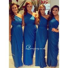 2016 Blue One Shoulder Bridesmaid Dress With Draped Skirt - Bridesmaid Dresses - Wedding Dresses
